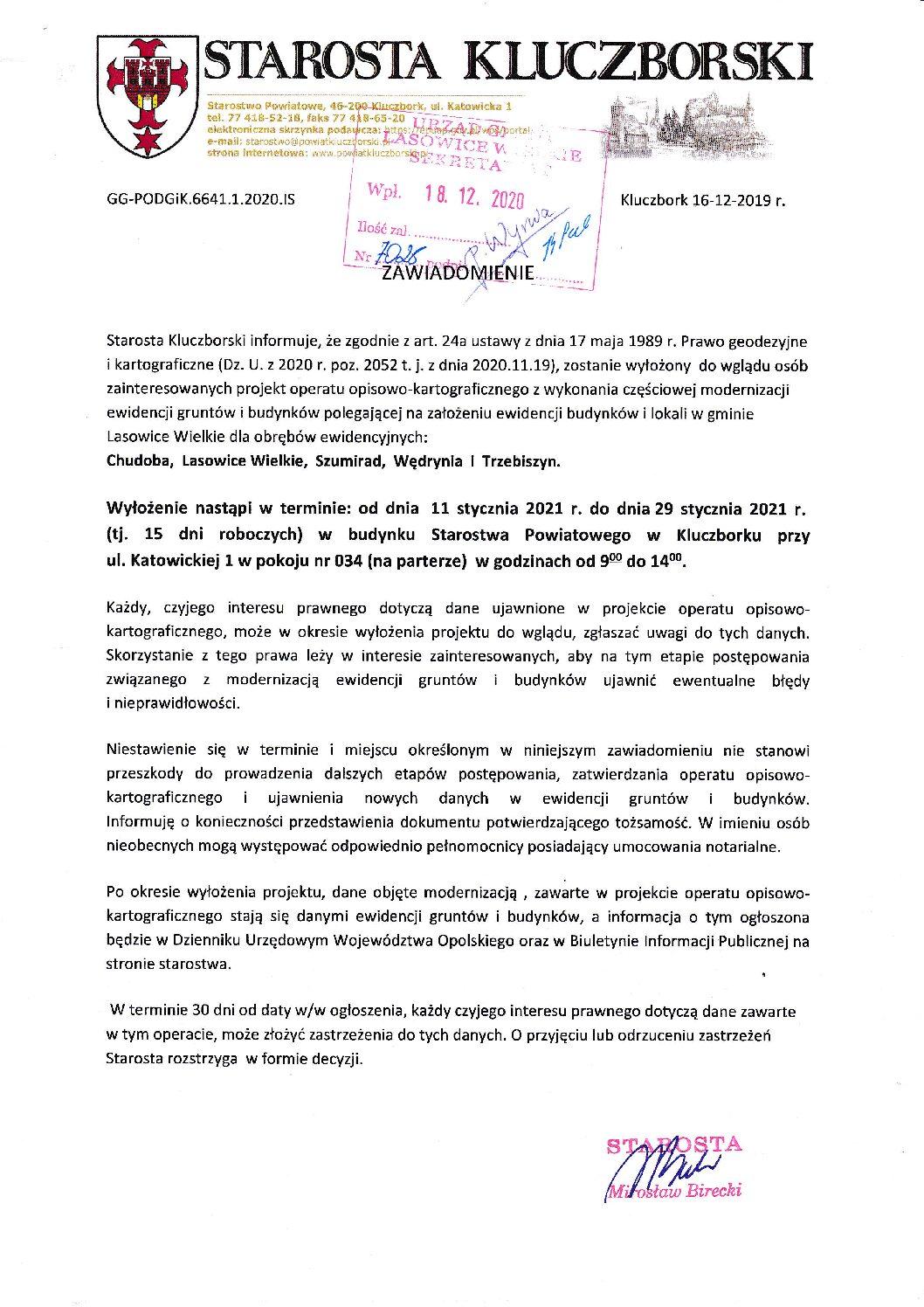 Wyłożenie projektu operatu opisowo-kartograficznego dot. miejscowości Chudoba, Lasowice Wielkie, Szumirad, Wędrynia iTrzebiszyn.