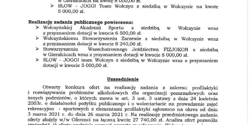 Wyniki otwartego konkursu ofert na realizację zadania pożytku publicznego