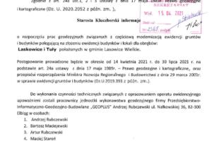 Informacja dla mieszkańców wsi Laskowice iTuły!