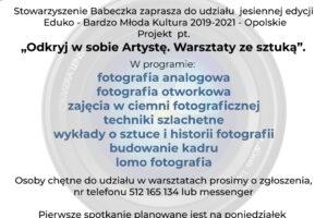 """Stowarzyszenie Babeczka zaprasza  na warsztaty """"Odkryj w sobie Artystę. Warsztaty ze sztuką"""""""