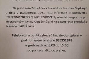 TELEFONICZNY PUNKT ZGŁOSZEŃ POTRZB TRANSPORTOWYCH NA SZCZEPIENIA PRZECIWKO SARS-Co-V-2